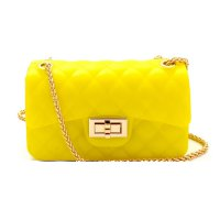 Yellow Embossed Jelly 2 Way Small Shoulder Handbag - JB3135