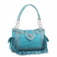 Turquoise 'Real Tree' Western Fringe Handbag - MJ-5301