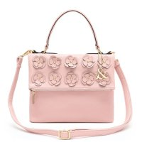 Pink Flower Deco Flip Top Zipper Fashion Handbag - HNA 69