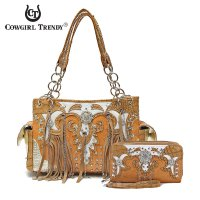 Natural 'Fringe & Chain' Handbag & Wallet - DDQ 8469-300