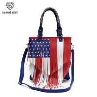 Blue American Flag Fringed Tote Handbag - DH 139