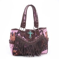 Brown 'Mossy Pine' Fringed Western Handbag - MT1-MJ6802 MP