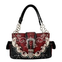 Red Rhinestone Rivet Buckle Concealed Handbag - 939177