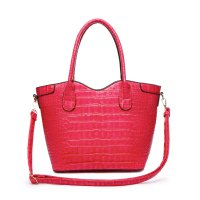 Fuchsia Top Handle Crocodile Shopper Handbag - CCR2 5713