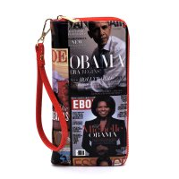 Red Magazine Cover Collage Zip Around Wallet Wristlet MBW0412A