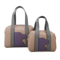 STONE 2IN1 CUTE BEAR PATCH BOSTON BAG SET WITH LONG STRAP