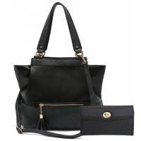 Black Solid Classic Hobo Single Handbag - Set - HNA 2153-663
