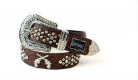 8-Pack Coffee DG Rhinestone Studded Belt Close Out - PTG105 BOX