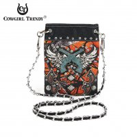 Fire Colored W/Winged Guns Western Messenger Bag - FFM4 5379G