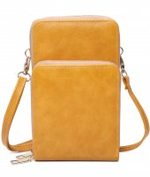 MUSTARD DOUBLE ZIPPER MULTI POCKET CROSSBODY WALLET