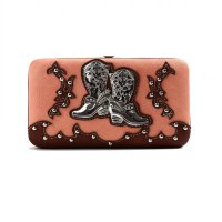Coral Cowgirl Trendy Western Boots Wallet - BOO4 4326