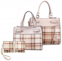 GOLD 3 IN 1 TRENDY CHECK SATCHEL SET WITH LONG STRAP WITH WALLET