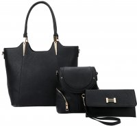BLACK 3IN1 MODERN STYLISH SATCHEL BACKPACK AND CLUTCH SET