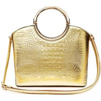 Gold Shinny Crocodile Structure Top Handle Handbag - CCR 5624