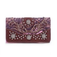 Brown 'Mossy Pine' Concho Tri-Fold Wallet - MT1-MJ7004 MP/BR