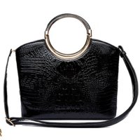 Black Shinny Crocodile Structure Top Handle Handbag - CCR 5624