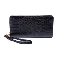 BLACK MODERN GLOSSY CROCO TEXTURED LONG WALLET WITH HAND STRAP