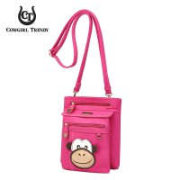 Fuchsia Monkey Patched Messenger Bag - MOKY 5459
