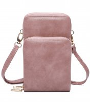 PINK DOUBLE ZIPPER MULTI POCKET CROSSBODY WALLET