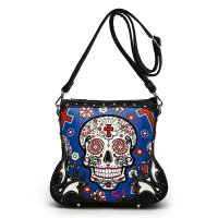 R.Blue Western 'Calavera' Sugar Skull Messenger Bag - SKU4 200