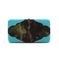 Turquoise 'Leaves & Trees' Western Hard Case Wallet - FML28 4326