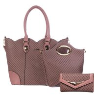 Pink 3 in 1 Signature Inspired Fashion Handbag - T625-816