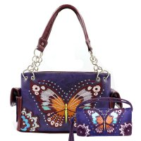 Purple Premium Butterfly Flower Embroidery Handbag Set - G939209