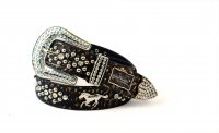 8-Pack Gold Horse Rhinestone Studded Belt - PTG106 BOX
