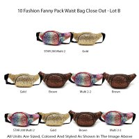 10 Fashion Fanny Pack Waist Bag Close Out - Lot B