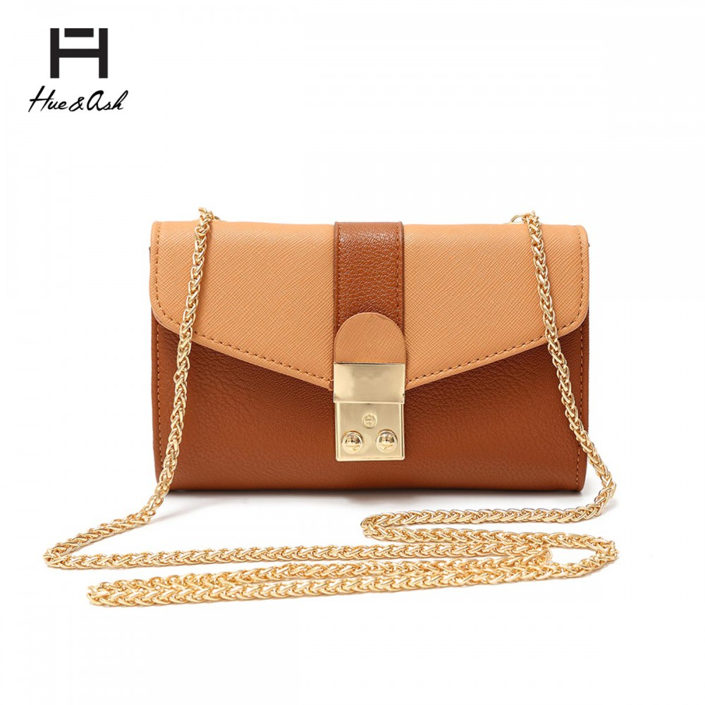 Butterscotch Mini Two Tone Chain Strap Messenger Bag - HNA 2031 - Click Image to Close