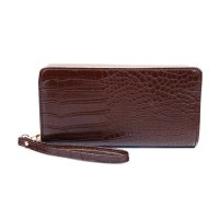 COFFEE STYLISH CROCO TEXTURED LONG WALLET WITH HAND STRAP
