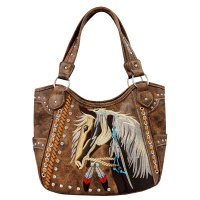 Brown Premium Concealed Carry Horse Embroidery Handbag - G980193