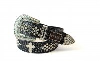 8-Pack Silver Cross Rhinestone Studded Belt - PTG107 BOX