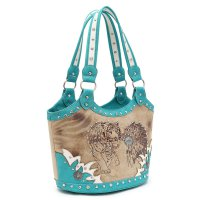 Aqua Western Indian Bennett / Tiger Handbag - WLD 361