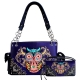 Purple Owl Embroidery Western Concealed Handbag Set - 939153