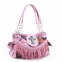 Pink 'Mossy Pine' Structured Fringe Handbag - MT1-MJ5302 MP