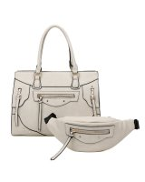 BEIGE 2IN1 MODERN STYLISH SATCHEL AND WAIST BAG SET