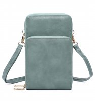 GREEN DOUBLE ZIPPER MULTI POCKET CROSSBODY WALLET