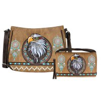 Tan Concealed Eagle Embroidery Messenger Bag Set - G603221