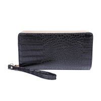 BLACK STYLISH CROCO TEXTURED LONG WALLET WITH HAND STRAP