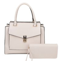 Beige 2 in 1 Fashion Handbag W/Wallet Set - LF19141
