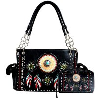 Black Tribal Feather Embroidered Rhinestone Bag Set - G939148