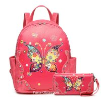 Fuchsia Western Butterfly Backpack Set - MULB3 5381-300
