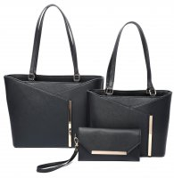BLACK 3IN1 STYLISH V ACCENTED TOTE AND CLUTCH SET
