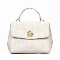 White LOEM Signature Flap-Over Satchel Handbag - LT-690