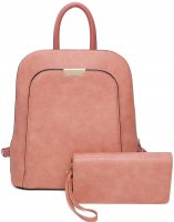 PINK 2IN1 STYLISH MODERN BACKPACK WITH MATCHING WALLET