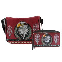 Wine Concealed Eagle Embroidery Messenger Bag Set - G603221