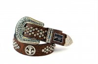 8-Pack Coffee Flower Rhinestone Studded Belt - PTG105 BOX