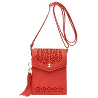 Red Cell Phone Laser Cut Modern Crossbody Purse - FCUS 5754