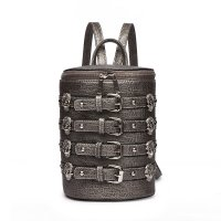 Pewter 'Biker Skull' Belted Barrel Backpack - SKUU 5703